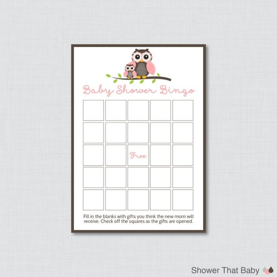 owl baby shower bingo cards prefilled bingo cards and blank cards