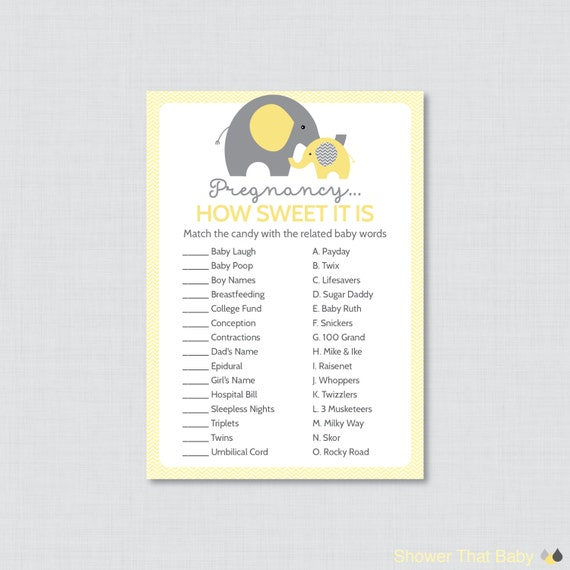 Sweet Sweet Baby Baby Shower Game: Elephant Baby Shower Pregnancy How Sweet It Is Game In Yellow