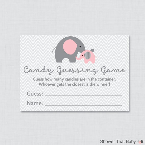 elephant baby shower candy guessing game printable guess how many