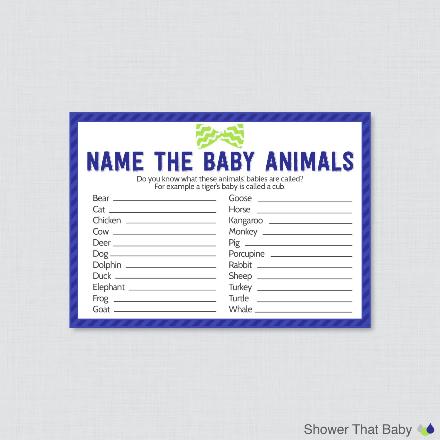 Bow Tie Baby Shower Baby Animals Name Game Printable Instant