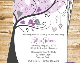 Purple Baby Shower Invitation - Love Birds and Baby Bird Baby Shower Invite - Girl Baby Shower Invite - Bird Family Baby - 1166 PRINTABLE
