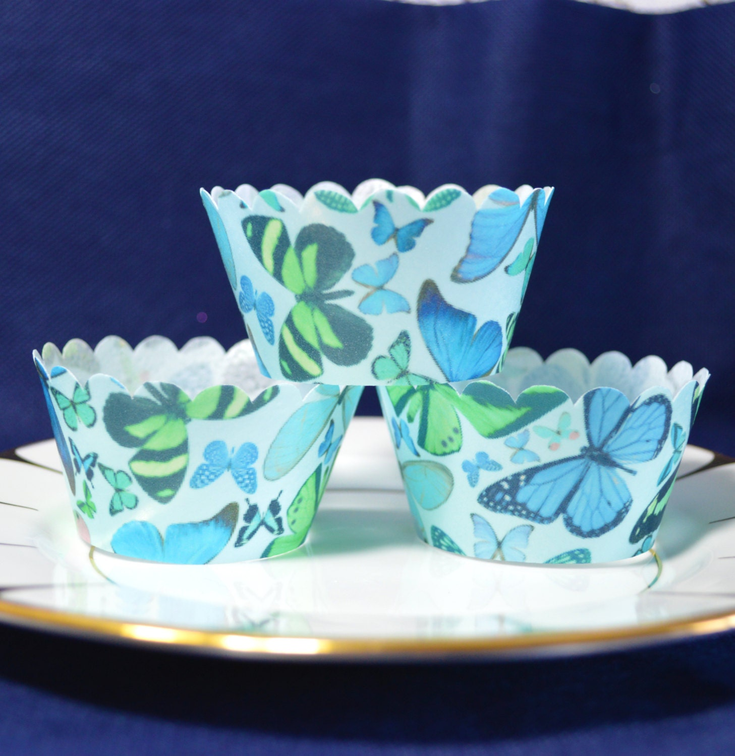 Edible Cupcake Wrappers Blue Butterfly Chintz x 12 Wafer
