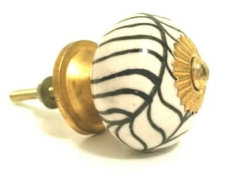 Ceramic Knob - Black and White Art Sunburst Knob - Tin Base and Hardware Included - Dresser Drawer Pull - Handcrafted - Handmade Item