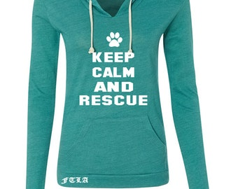 Eco Jersey Classic Hooded Pullover Eco True Viridian - Keep Calm and Rescue