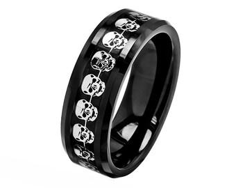 mens skull wedding rings - Mens Skull Wedding Rings