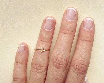 Knot Knuckle Ring: Gold or Silver Stackable Mid Rings Knuckle Ring