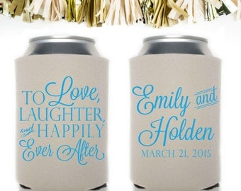 To Love Laughter and Happily Ever After Wedding Favors: Custom and Personalized Can Cooler // Script