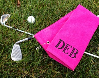 Ladies' Monogrammed Golf Towels Tri-Fold and Grometed