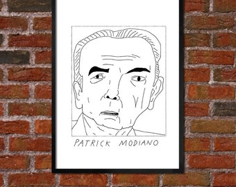 Badly Drawn Patrick Modiano - Literary Poster