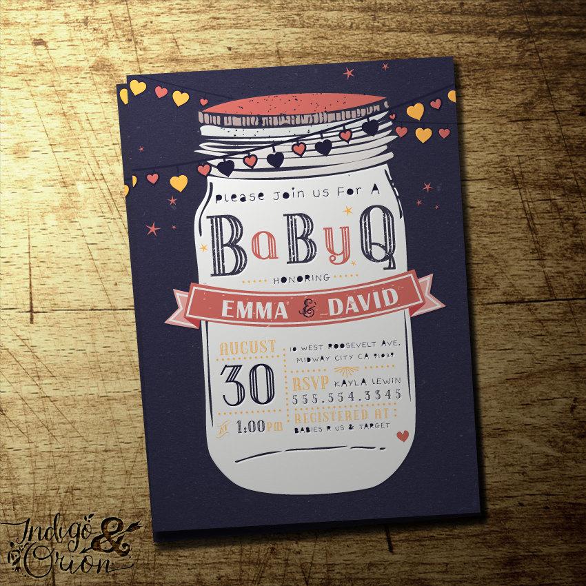 Couples Bbq Baby Shower: Mason Jar Baby Shower Invitation BabyQ Couples By