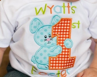 1st Easter Shirt with Bunny for Boys with name