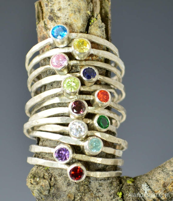 Mothers Rings, Set of 3, Birthstone Rings,  Mothers Jewerly, Silver Mothers Rings, Sterling Mothers Rings, Gemstone Rings, Grandmas Rings