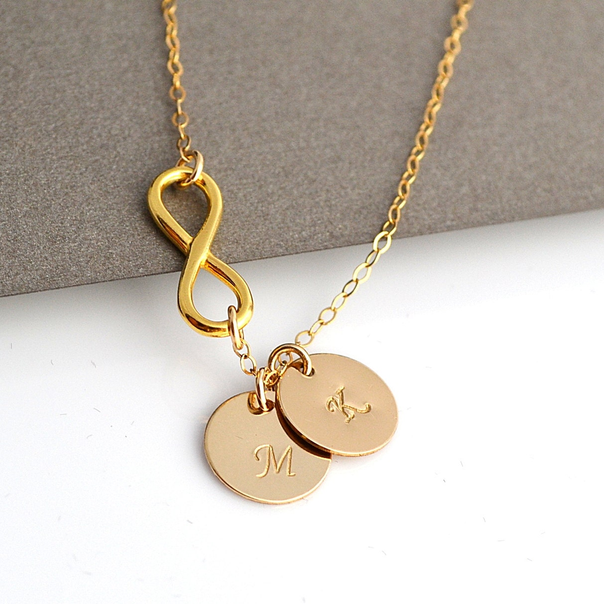 Infinity initial necklace personalized gold necklace for Custom letter necklace gold