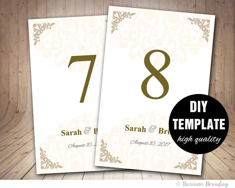 Wedding Table Card Template Printable Wedding By BusinessBranding