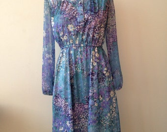 Vintage Blue Floral Long Sleeve Dress   with Mandarin Collar