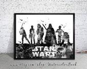 Star Wars Watercolour Painting Print, Star Wars poster, Celebrity Portraits, art print, Star Wars art, Star Wars print, Star Wars, Wall Art