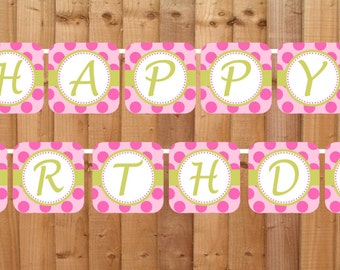Pink Ladybug Happy Birthday Banner- INSTANT DOWNLOAD - Printable Party Decorations