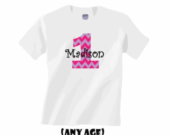 Personalized first birthday girl shirt. Chevron pattern in pink and purple. Any age!