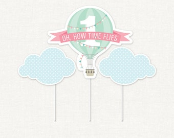 Hot Air Balloon Centerpiece – Pink Banner – Printable First Birthday Centerpiece by Squawk Box Studio – INSTANT DOWNLOAD