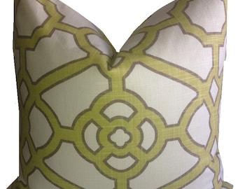 Geometric Pillow Cover P Kaufmann Pavilion Fretwork Kiwi Pillow Cover Trellis Pillow Throw Pillow  20X20 18X18 ONE Cover