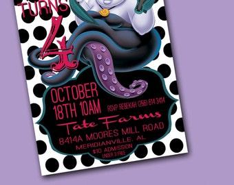 Ursula Birthday Invite!!!! Little Mermaid Birthday Invite!!!!! Unique - Adorable - Boutique Style
