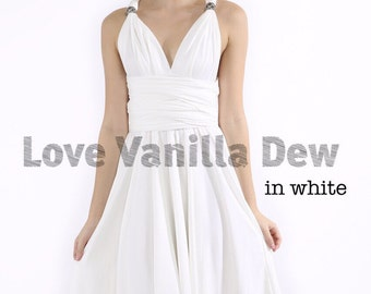 Bridesmaid Dress Infinity Dress White Knee Length Wrap Convertible Dress Wedding Dress