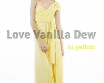 Bridesmaid Dress Infinity Dress Lemon Yellow Floor Length Maxi Wrap Convertible Dress Wedding Dress
