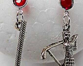 0643 - Golf earrings, golf jewelry, golf charm, red glass bead, golfer charm, golf club charm, sports earring, sports jewelry, golf