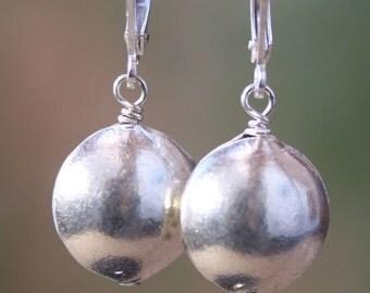 Fine Silver Disc Earrings