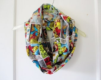 Marvel Superhero Comic Strip Print Cotton Infinity Scarf