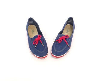 Boat Shoes Women Blue Shoes Womens Boat Shoe Tennis Shoe Womens Shoe Flat Shoes Blue Red Sneakers Indie Nautical Size US 7.5, EU 38, UK 5.5