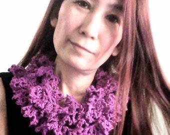 Crochet Silk Ruffle Scarf, Neckwarmer
