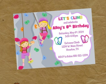 Rock Wall Climbing Birthday Party Invitation Girls Invite - Digital or Printed