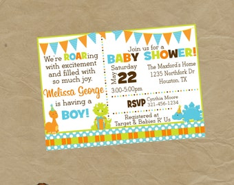 DINOSAUR Baby Shower Invitation Invite Digital or Printed