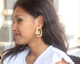 Spiral Fake Tunnels Tribal Style Wood Earrings Fake Gauges