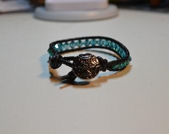 Black Leather With Turquoise Beads Single Wrap Bracelet
