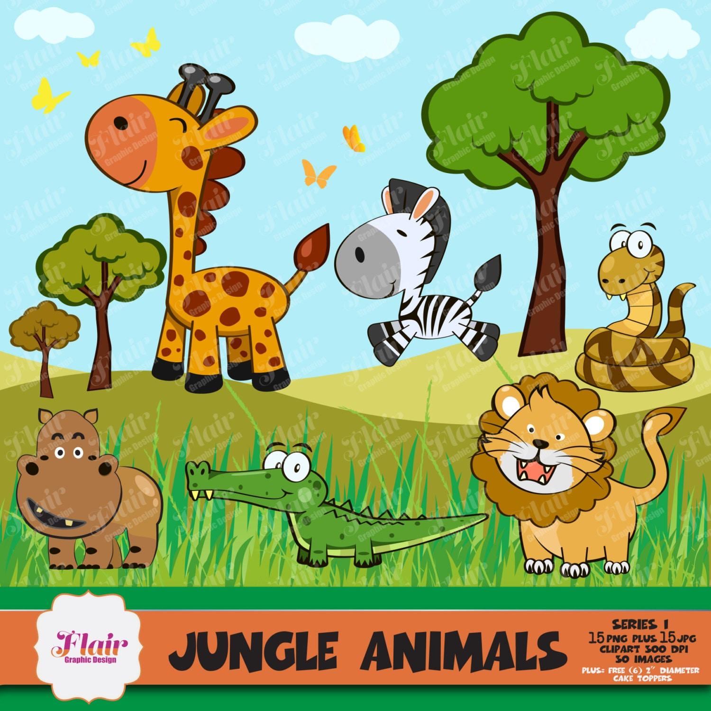 JUNGLE ANIMALS Clipart, Baby Animals, Safari Clipart ...