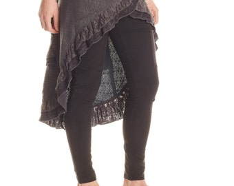Lace Ruffle Snap Skirt MR430 (Lace, crochet, festival, burning man, belly dance, Steampunk, dance, burlesque, hooping, gypsy, ruffles)