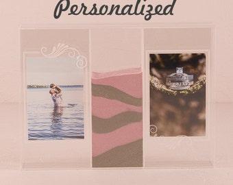 Personalized Sand Ceremony - Unity Ceremony - Wedding Shadow Box - Clearly Love Shadow Box With Photo Frames - Wedding Sand Ceremony