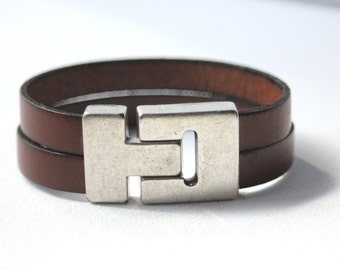 Men's leather cuff bracelet brown 22mm silver plated magnetic clasp - man brown leather bracelet - brown leather cuff