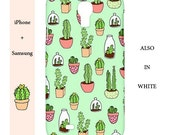 Mint iphone case,cactus,cute,white,green,illustration,case,s4,iphone,iphone 6,plant,s6,5c,samsung galaxy s5,5,5s,4,cacti,succulent,4s,iphone