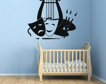 Wall Decals Painting Palette Brushes Face Masks Vinyl Decal Sticker Wall Art Mural Home Interior Design Boy Girl Kids Room Wall Decor KG580