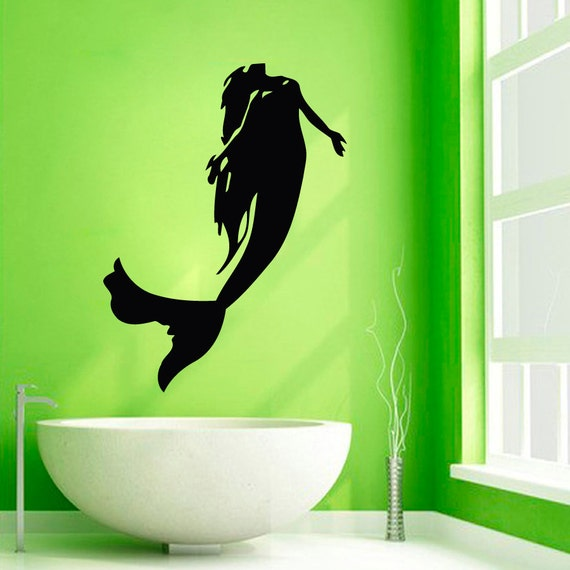 mermaid wall decals sea girl vinyl sticker bathroom decor home mermaid wall decal hair girl sea ocean bathroom by