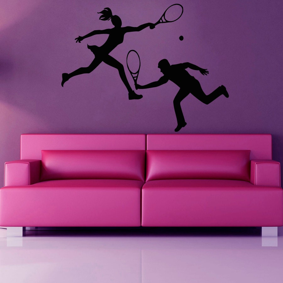 Boy Girl Tennis Wall Decal by WallDecalswithLove