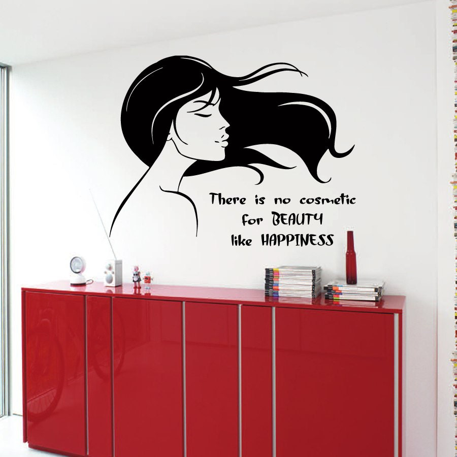 Hair Salon Wall Decor hair salon wall decals beauty cosmetic happiness woman wall