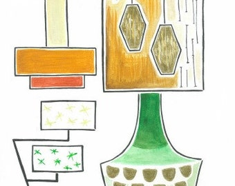 Mid Century Modern Lighting Love - Limited Edition Print by Hayley Weston
