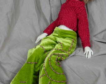 Velvet pants off lime green, embroidered with beads, for dolls MSD