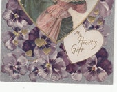 C1910 Antique Valentine Postcard Center Heart All Silk,2 Women Walking In Snow,Lots Of Pansies