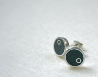 Round concrete earrings, stud earrings for everyday