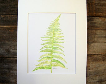 8X10 Green Fern watercolor painting fern print botanical print minimalist print nature print fern wall art fern art home decor fern